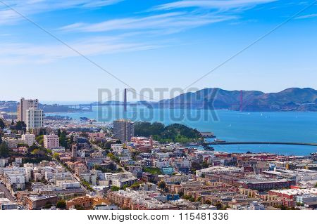 San Francisco city bay and Golden Gate bridge