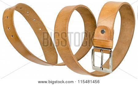 Brown leather men's belt in form of spiral