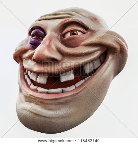 Trollface Beaten. Internet Troll 3D Illustration