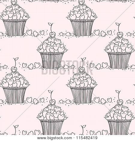 Seamless pattern with doodle hearts and cupcakes.