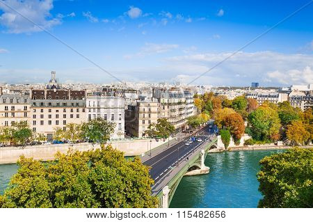 Seine river and Pont de Sully, Paris, France