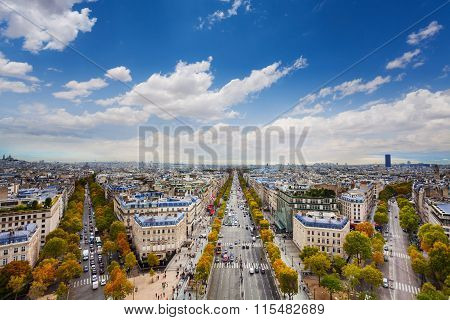 Paris and Champs Elysees form Arc de Triumph