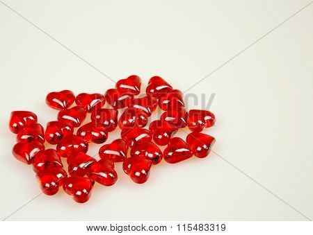 Red Rocks In The Shape Of Hearts Isolated On White Background