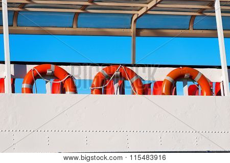 Lifebuoys In A Ferry Boat