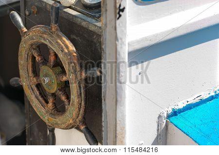Old Wooden Helm Wheel