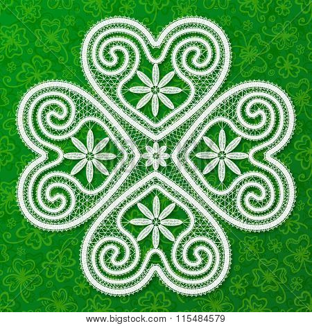 White lacy clover in Russian Vologda lace style on green doodles background