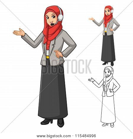 Muslim Businesswoman Operator Wearing Red Veil or Scarf with Welcoming Hands and Head Phone