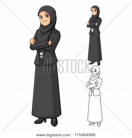Muslim Businesswoman Wearing Black Veil or Scarf with Folded Hands