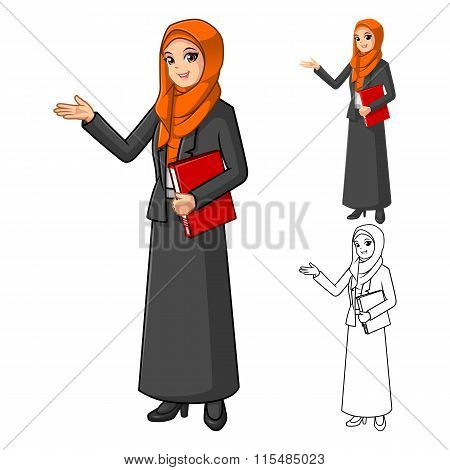 Muslim Businesswoman Wearing Orange Veil or Scarf with Welcoming Hands