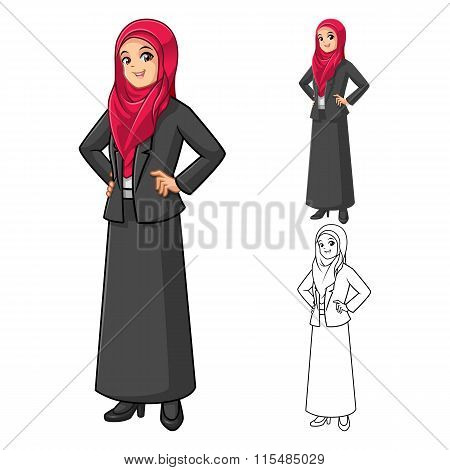 Muslim Businesswoman Wearing Red Veil or Scarf  with Hands On Hip