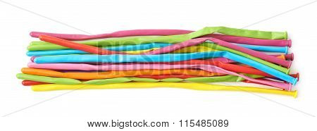 Pile of deflated animal baloons isolated