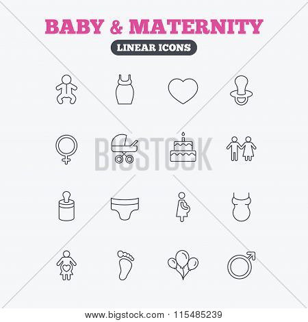 Baby and Maternity line icon. Pacifier, diapers.