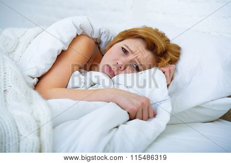 Young Woman  Lying In Bed Sick Unable To Sleep Suffering Depression And Nightmares Insomnia Sleeping