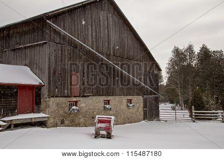 Old Vintage Barn And Sleigh