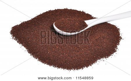 Ground Coffee With A Spoon For Coffee