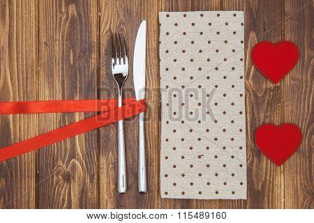 Valentine's Day Dinner Setting, Knife, Fork And Napkin