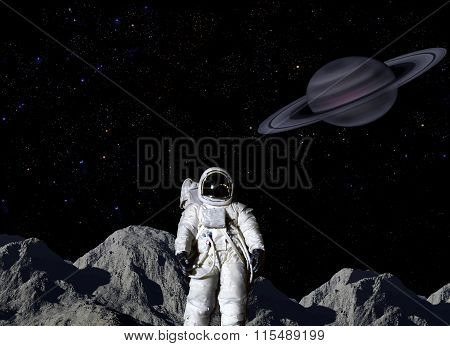 Astronaut On Lunar Surface