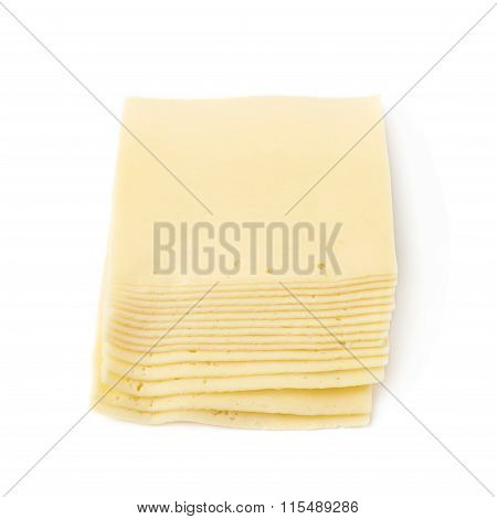 Stack of multiple cheese slices isolated