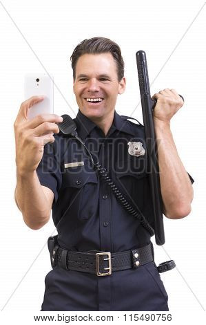 Silly Cop Taking Selfie With Baton