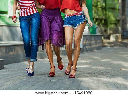 legs Of Women On City Street