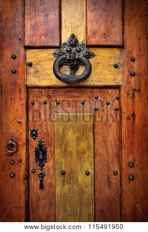 Detail of a brass door knocker on a wooden door decorated with rivets