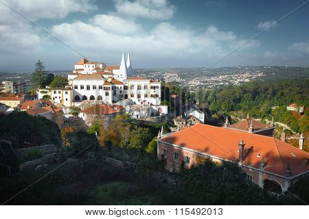General view of National Palace in the portuguese romantic town of Sintra