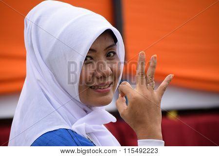 White hijab woman