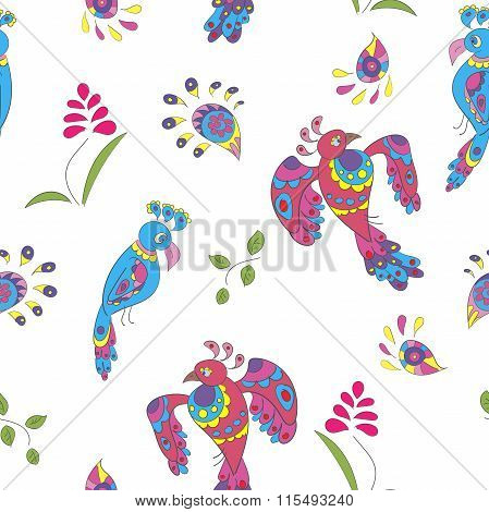 Seamless Pattern With Birds And Flowers. Eps 10 Vector Illustration
