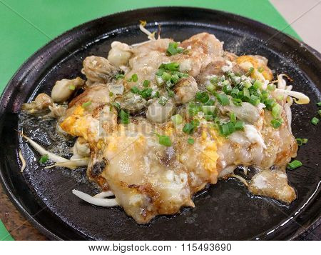 Oyster Omelette On Hot Pan