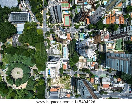 Top view of some buildings in Sao Paulo, Brazil