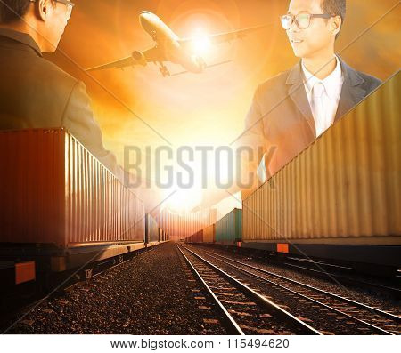 Two Business Man Successful Shaking Hand With Railway Logistic And Air Freight Cargo Transportation