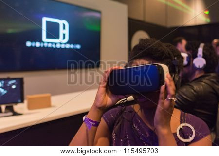 Woman Tries Virtual Reality Headset