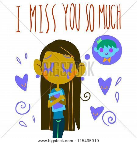Romantic cute I miss you so much postcard.