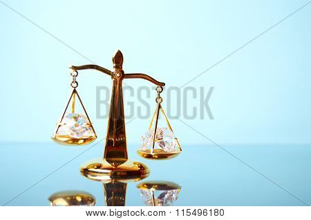 Justice. Gold Scales On The Mirror