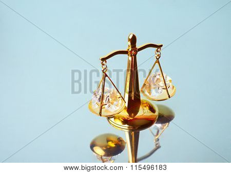 Court. Justice. Scales On Mirror