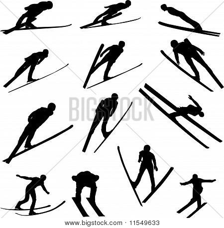Ski Jumping Silhouette