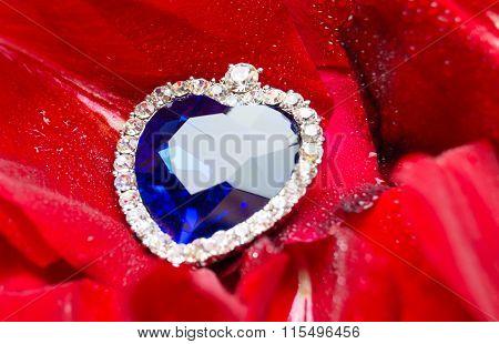 Sapphire Heart On Dew Drops