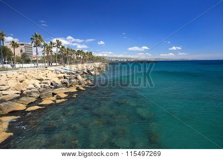 Promenade In Limassol. Overlooking The Mediterranean Sea