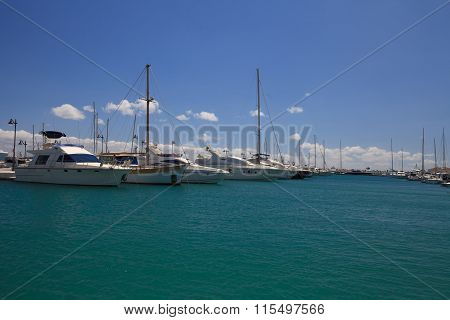 Pleasure Boats Docked In The Port Of Limassol. Cyprus
