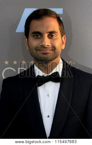 LOS ANGELES - JAN 17:  Aziz Ansari at the 21st Annual Critics Choice Awards at the Barker Hanger on January 17, 2016 in Santa Monica, CA