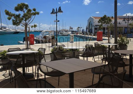 Cafe At The Marina In Limassol. Cyprus
