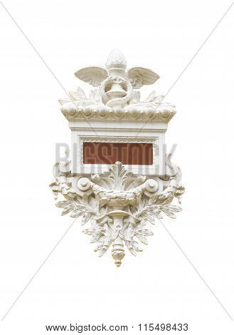 Detail Of Corinthian Column On White Isolated Background With Clipping Path.