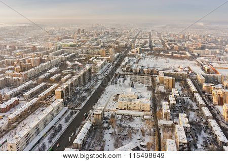 Bird eye view on Republic street. Tyumen. Russia
