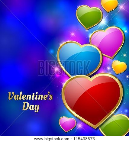 Valentine's Day card with colorful hearts and starry glittering effects in the background