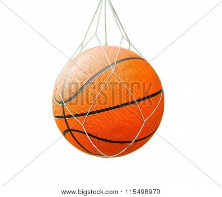 Basketball Ball Over White Isolated Background With Clipping Path.