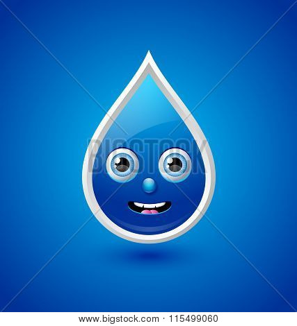 Cute water drop character isolated on blue background