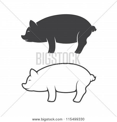 Vector Image Of An Pig Design On White Background
