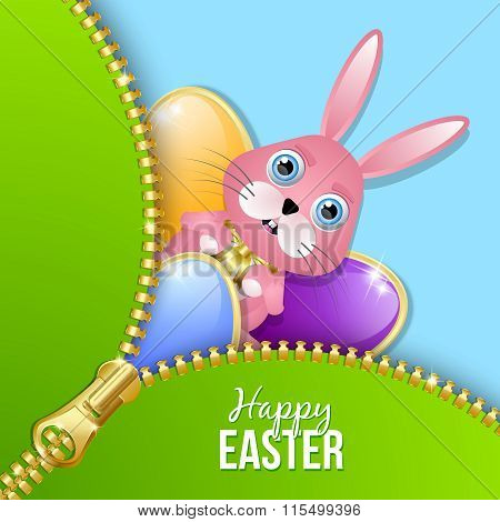 Glossy Easter eggs and bunny with zipper on blue background