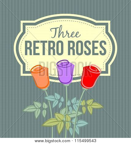 Three retro roses with label on striped teal background