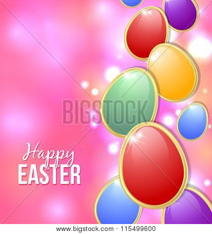 Happy Easter card with colorful eggs and starry glittering effects in the background